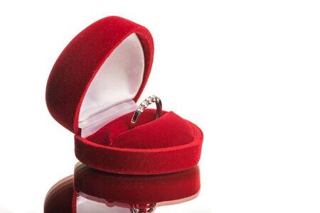 elegant diamond ring in the box