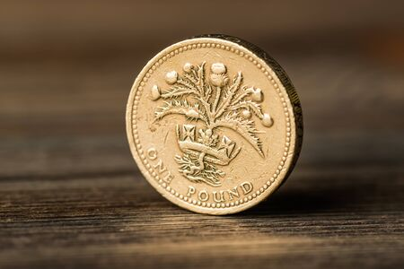 pound GBP coin on the desk