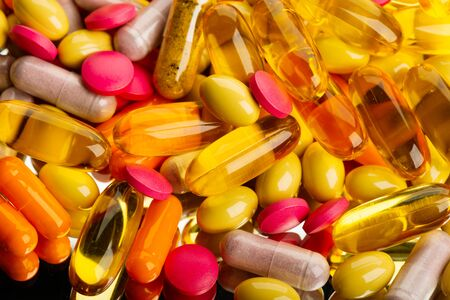 different colorful pills background image