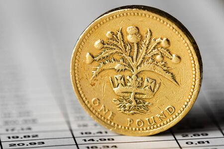 One pound coin on a summary table (shallow DOF)