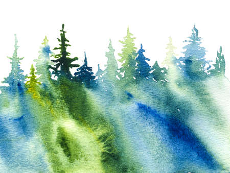 forest nature watercolor background, hand drawn illustration Banque d'images