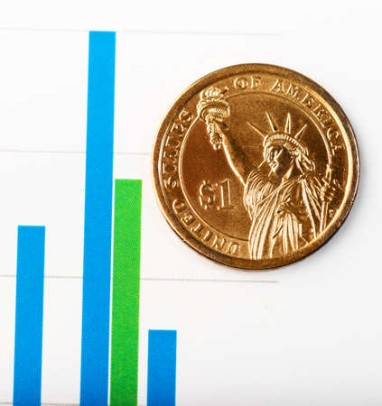One dollar coin on fluctuating graph. Rate of the us dollar