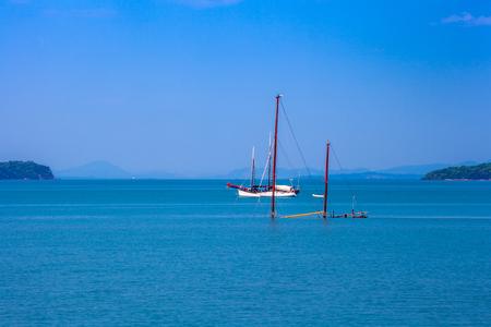 the sunken: The sunken ship. Krabi, Thailand.