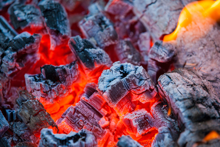 ardor: Burning and glowing charcoal with a hot flame in the background. Coal for BBQ Party, Grill Meat