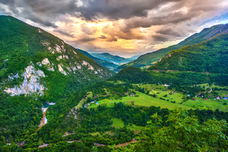 Valley between the mountains.