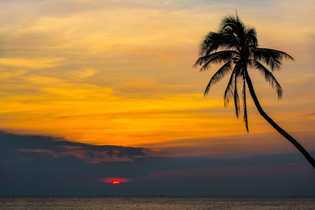 Sunset on Sanya beach, China. Red sun hides in the clouds over the South China Sea, against the backdrop of a silhouette of a palm tree. Stock Photo