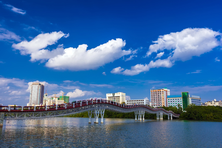Pedestrian bridge over the Linchun River. Sanya, Hainan, China.