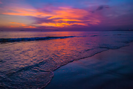 Purple sunset in Sanya, Hainan, China. Stock Photo