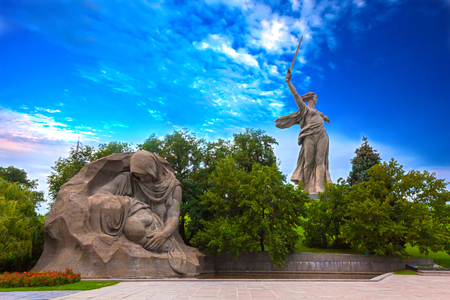 Mamaev Kurgan, Volgograd, Russia - August 2014. Picture is taken from the area of ??the tribulation.