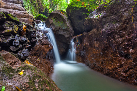 flashy: Flowing river in brown rocky stones of tropical jungle around fallen leaves and beautiful green nature. River at Monkey Forest, Ubud, Bali, Indonesia.