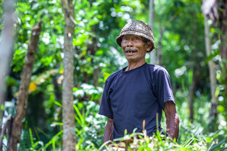 The farmer, an old man with a yellow, rare teeth, an open mouth, with deep wrinkles, a straw hat and a black T-shirt, wiry hands in the forest. Ubud, Bali, Indonesia - March 2015. Editorial