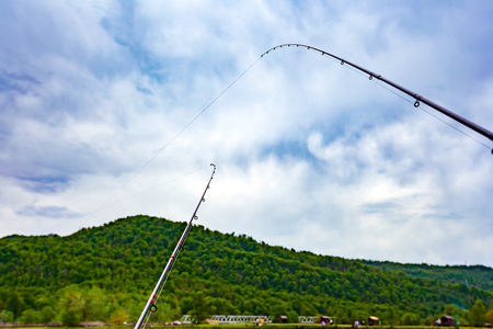 Two fishing rods with a curved strained line across the pond in anticipation of the fish against the background of a spring green nature. Landscape on a fishing trip in Sochi, Russia.