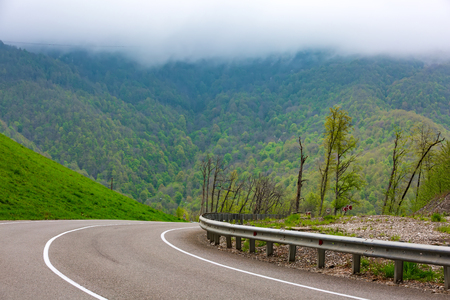 The asphalt highway with one-way road metal fencing against the background of a green spring forest in the mountains in the fog. High-altitude landscape from Sochi, Russia.