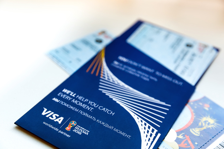 FIFA Venue Ticketing Center, Moscow, Russia - April 2018. Tickets for the 2018 FIFA World Cup in Russia in summer, Luzhniki Stadium, Denmark - France. Editorial