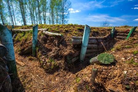 World War Fortified. Military trenches near the city of Volokolamsk at Dubosekovo junction, Moscow Region, Russia. Stock Photo