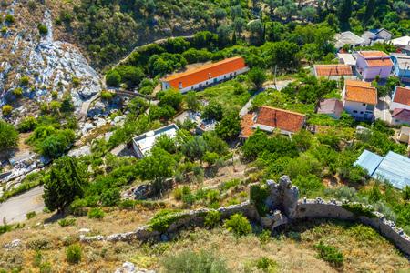a mountainous landscape. Summer landscape in Fortress Old Bar Town, Montenegro. Stok Fotoğraf - 114804679