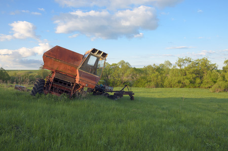 abandoned: Abandoned combine-harvester Stock Photo