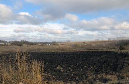 plough land: Autumn countryside landscape