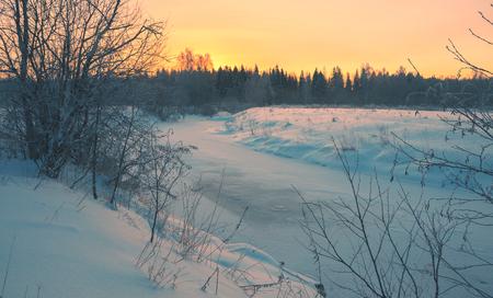 frozen river: Winter landscape with frozen river Stock Photo
