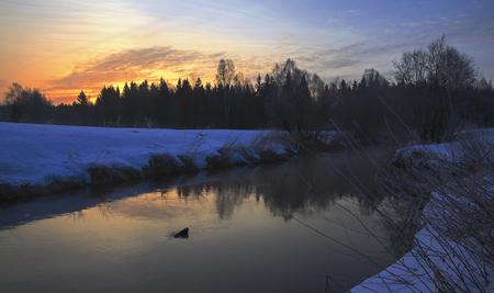 Springtime.Twilight.Landscape with river.