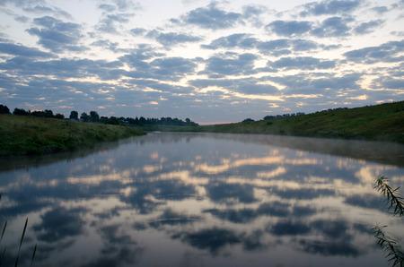 Summer landscape.River Krasivaya Mecha in Tula region, Russia.