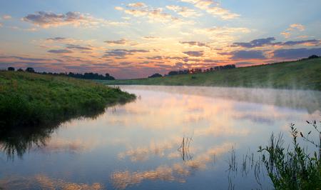 Summer landscape.Twilight.River Krasivaya Mecha in Tula region, Russia.