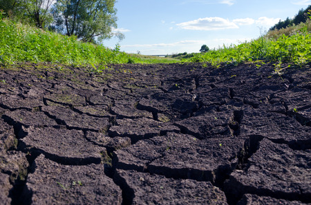 Drought.Parched riverbed.Cracked land.Summer heat.Hot weather.