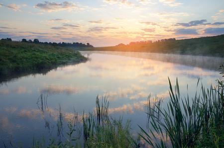 Foggy summer landscape.River Krasivaya Mecha in Tula region, Russia.