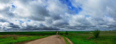 Road passing through the farm fields.
