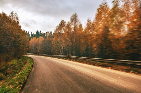 Asphalt rural road passing through autumn forest.