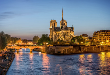 paris: Night panoramic view to Cite island with NotreDame de Paris Stock Photo