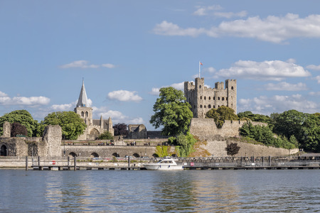 norman castle: View to Rochester castle and cathedral across river Medway Editorial