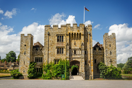 Hever Castle, United Kingdom - June 18, 2015: Panoramic view of Hever Castle and its beautiful garden and once the childhood home of Anne Boleyn.