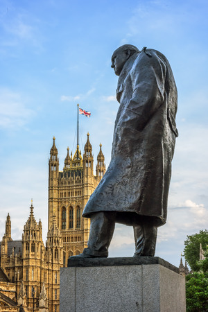 referred: Statue of Sir Winston Churchill, Parliament Square, London. Bronze statue is 3.7m high and is located on a spot referred to in the 1950s by Churchill