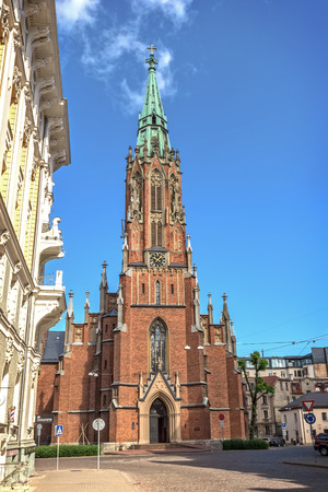 xv century: St. Gertrude Old Church, Riga. During dramatic history since XV century church was demolished and rebuilt six times. Editorial