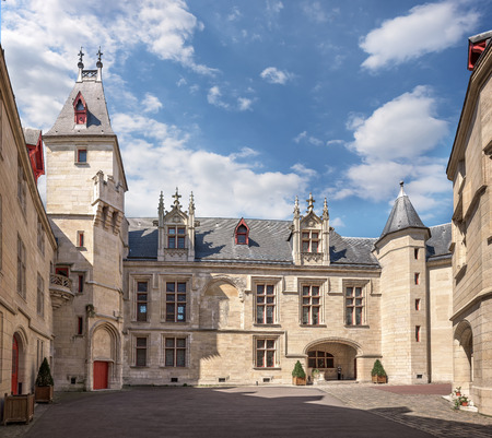 sens: Paris, France - April 18, 2015. Enclosed court of mansion Hotel de Sens in Paris as seen on April 18, 2015. Built in style in between late Gothic and early Renaissance.