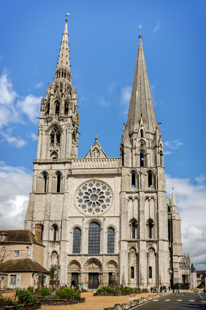 Chartres, France - April 19, 2013: Cathedral Our Lady of Chartres as seen on 19th of April 2013. One of the finest examples of French Gothic architecture, constructed during the 13th century. Editorial