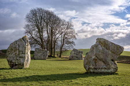 neolithic: Avebury, United Kingdom - January 30, 2015: Avebury neolithic henge monument, site dating to around 2600 BCE, as seen on 30th of January, 2015.