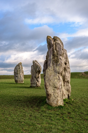 neolithic: Avebury, United Kingdom - January 30, 2015: Avebury neolithic henge monument, site dating to around 2600 BCE, as seen on 30th of January, 2015.