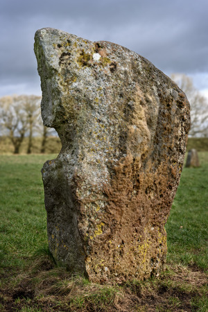 bce: Avebury, United Kingdom - January 30, 2015: Avebury neolithic henge monument, site dating to around 2600 BCE, as seen on 30th of January, 2015.