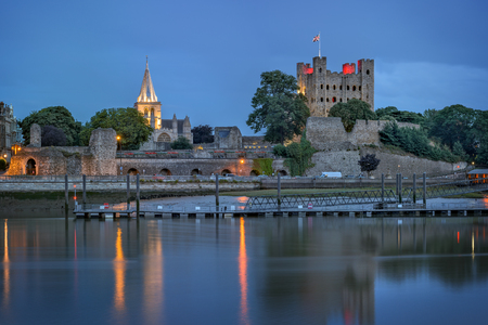 kent: Panoramic view across river to Rochester in Kent at dusk Editorial