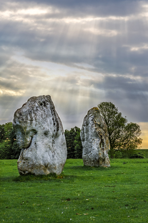 bce: Avebury, United Kingdom - June 7, 2013: Avebury neolithic henge monument, site dating to around 2600 BCE, as seen on 7th of June, 2013. Editorial