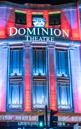 dominion: London, United Kingdom - December 30, 2014: London Christmas lights decoration at Dominion theatre as seen on 30th of December, 2014.