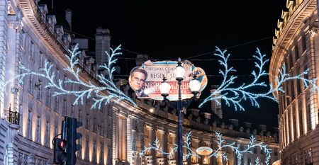 regent: London, United Kingdom - December 28, 2014: London Christmas lights decoration at Regent Street as seen on 28th of December, 2014. Editorial