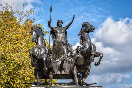 revolt: London, United Kingdom - 20 October, 2015: Monument in memory of Queen of the British tribe Iceni, who led revolt against the Romans in AD 60-61.