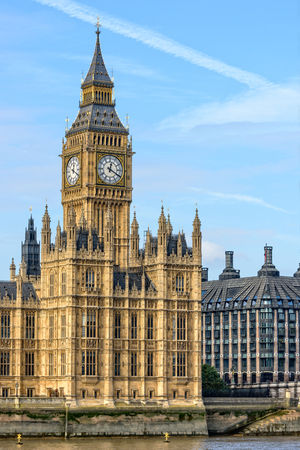 big ben tower: London, UK - October 20, 2015: View of Big Ben tower in London with copy space in sky