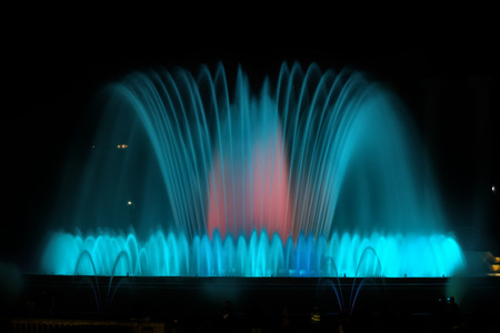 nightshot: The famous Montjuic Fountain in Barcelona, Spain Stock Photo