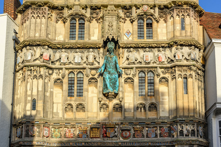 kent: Canterbury, United Kingdom - December 23, 2015: Architecture details of Canterbury cathedral entrance gate.