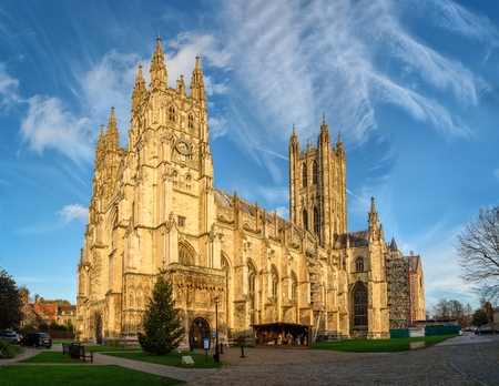 Canterbury cathedral in sunset rays, England 스톡 콘텐츠