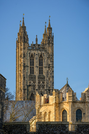 canterbury: View of Canterbury cathedral with copy space in clear sky Editorial